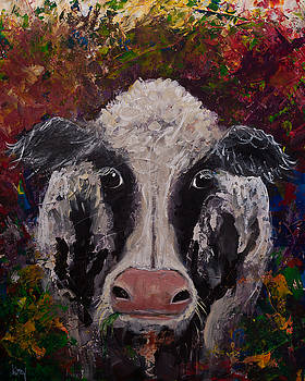 Original Colorful Expressionist Cow Painting  by Gray Artus