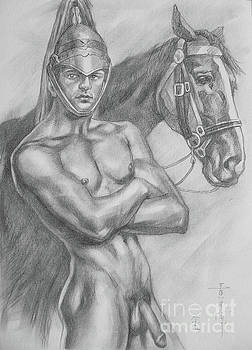 Original drawing pencil male nude and horse#17317 by Hongtao Huang