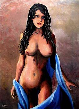 G Linsenmayer - ORIGINAL FINE ART FEMALE NUDE JEAN STANDING IN BLUE MOD3