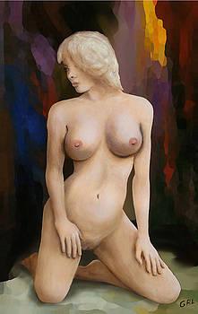 G Linsenmayer - ORIGINAL FINE ART FEMALE NUDE KNEELING MULTIMEDIA PAINTING