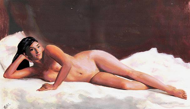 G Linsenmayer - ORIGINAL FINE ART FEMALE NUDE RECLINING ON WHITE