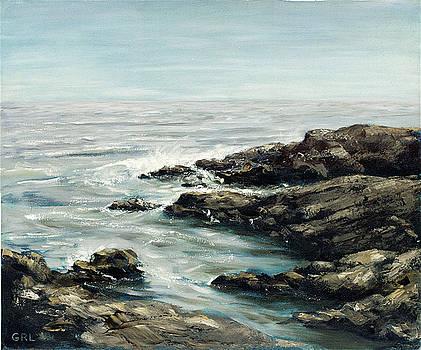 Original Fine Art Painting Bass Rocks Massachusetts by G Linsenmayer