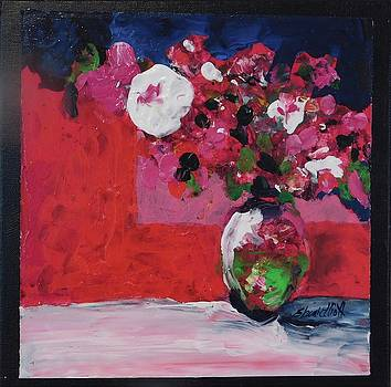 Original Floral Painting by Elaine Elliott, 12x12 acrylic and collage, 59.00 incl. shipping, contemp by Elaine Elliott