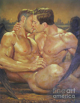 Original oil painting angel of male nude kiss on linen#17126 by Hongtao Huang