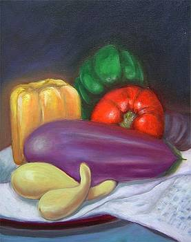 Original oil painting of eggplant pepper still life by Gayle Bell