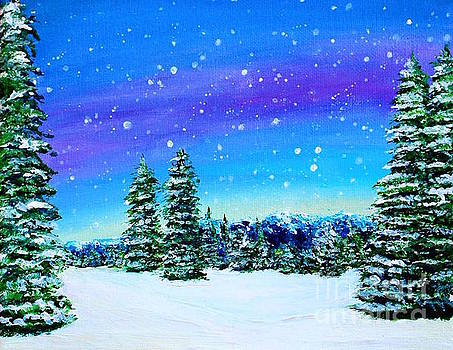 Original Snowy Mountainous Tree Landscape with Blue, Purple, and Yellow Sky Acrylic Painting by Ashley Baldwin