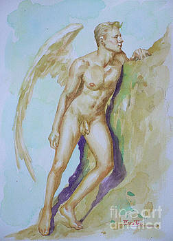 Original Watercolour Angel Of  Male Nude On Paper#16-10-6-04 by Hongtao Huang