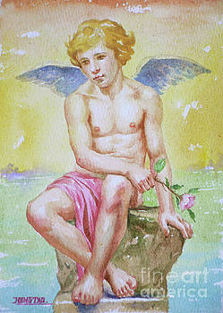 Original Watercolour Angel Of Nude Boy On Paper#16-11-2-01 by Hongtao Huang
