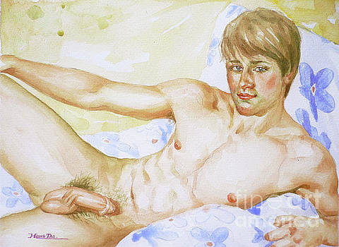 Original Watercolour Male Nude Lying On Bed On Paper#16-10-6-02 by Hongtao Huang