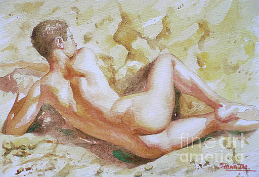 Original Watercolour Male Nude Men On Paper#16-11-6 by Hongtao Huang