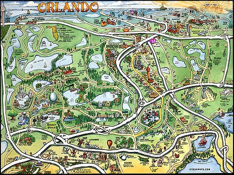 Kevin Middleton - Orlando Florida Cartoon Map