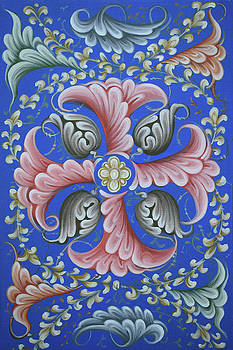 Ornament on blue background 2 by Lembrau Iulian