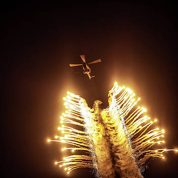 Oryx Helicopter Displaying Flares by Arisha Singh