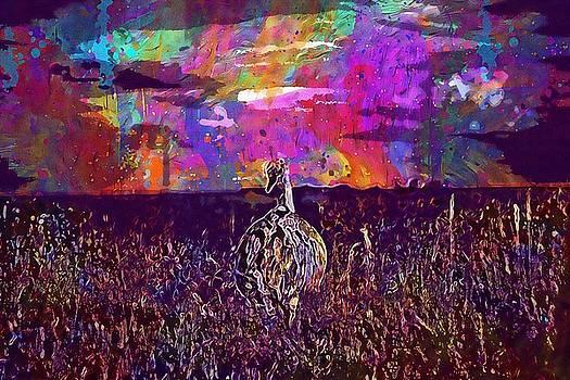 Ostrich Bird Large Alone Animal  by PixBreak Art