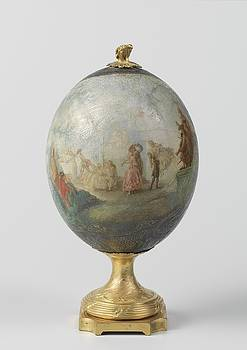 Ostrich egg on the basis of gilded bronze  with painted depiction of a dance in the open air with or by R Muirhead Art