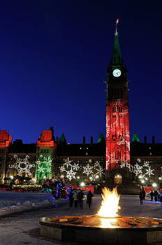 Reimar Gaertner - Ottawa Parliament Buildings Peace Tower and Christmas Lights at
