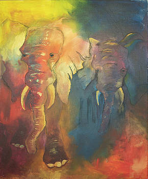 Out of The Shadows Elephants by Rina Bhabra