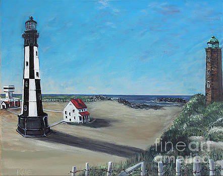 Out With The Old In With The New Cape Henry Lighthouses Fort Story Virginia  by Katie Adkins
