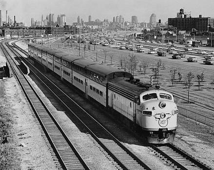 Outbound Train On Kennedy Expressway - 1961 by Chicago and North Western Historical Society