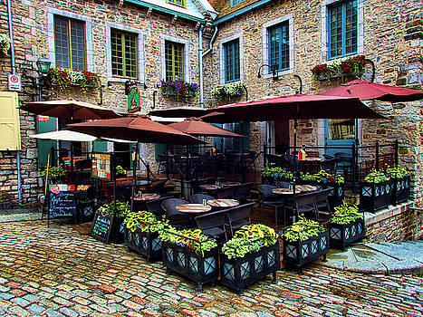Outdoor French Cafe in Old Quebec City by David Smith