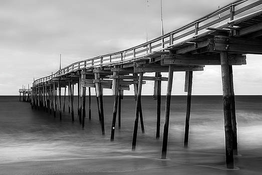 Ranjay Mitra - Outer Banks Avon Fishing Pier in Black and White