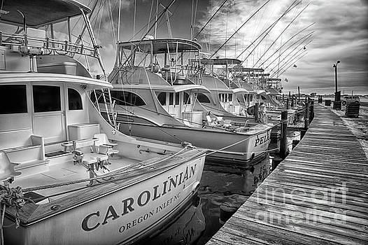 Dan Carmichael - Outer Banks Fishing Boats Waiting BW
