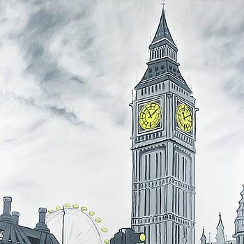 Outline Style of Big Ben in London by Atelier B Art Studio