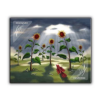 Outnumbered Sunflowers Hunting a Bird by Annie Dunn