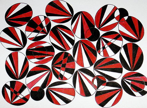 Ovals Red and Black by Ruth Devorah