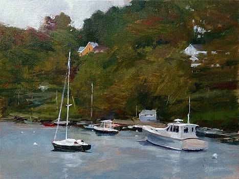 Overcast Day at Rockport Harbor by Peter Salwen