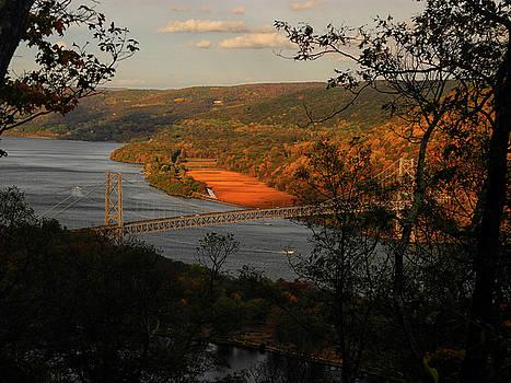 Overlooking the Bear Mountain Bridge from Bear Mountain  by Raymond Salani III