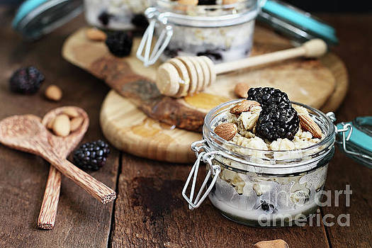 Overnight Oatmeal with Blackberries Almonds and Honey by Stephanie Frey