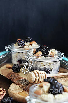 Overnight Oatmeal with blackberries and Honey by Stephanie Frey