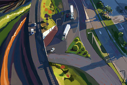 Overpass and Trucks by Brad Burns