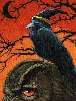 Owl and Crow Halloween by Linda Apple