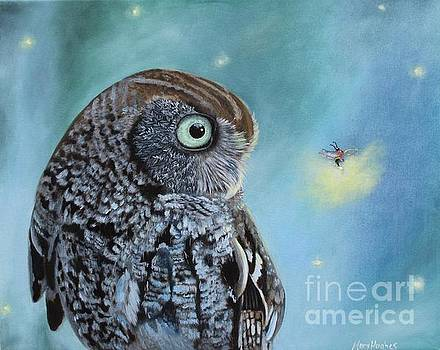 Owl and Lightning Bugs by Mary Hughes