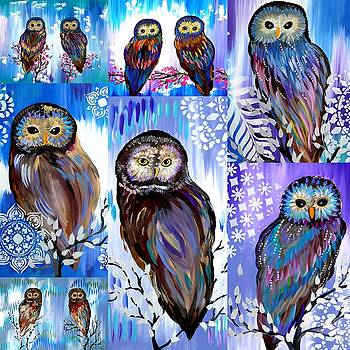Owl collage by Cathy Jacobs