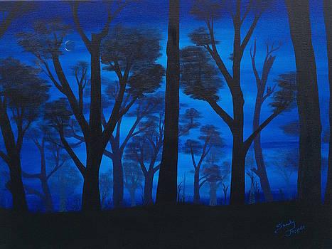 Owl in the Deep Blue Forest by Sandy Jasper