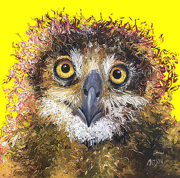 Jan Matson - Owl painting on yellow background