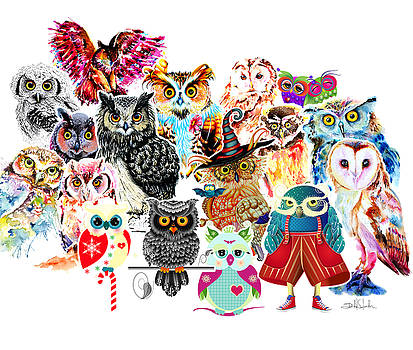 Owls Collage By Isabel Salvador by Isabel Salvador