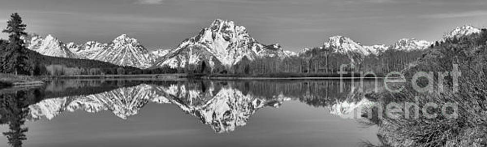 Adam Jewell - Oxbow Snake River Reflections Black And White