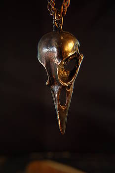 Oxidized Bronze Raven Skull Pendant by Michael  Doyle