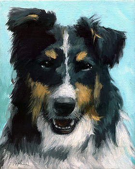 Ozzie animal dog portrait by Linda Apple