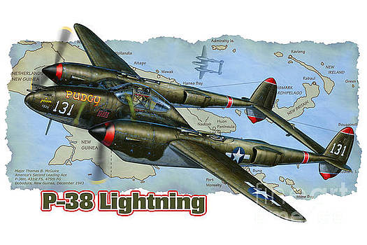 P-38 Lightning Graphic by Stu Shepherd