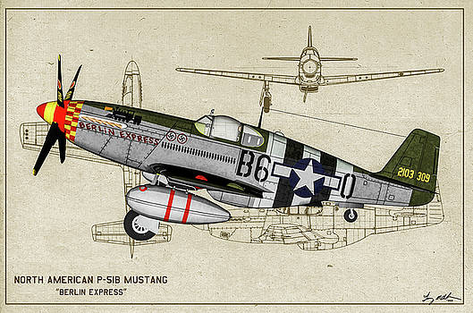 P-51B Berlin Express - Profile Art by Tommy Anderson