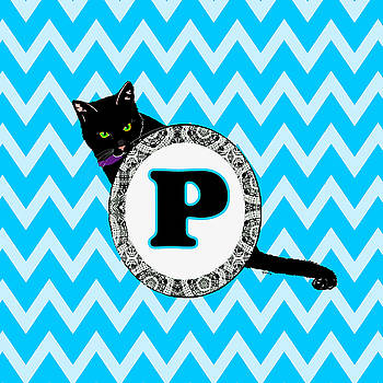 P Cat Chevron Monogram by Paintings by Gretzky