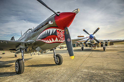 John King - P40 Warhawk and P51D Mustang on the Ramp