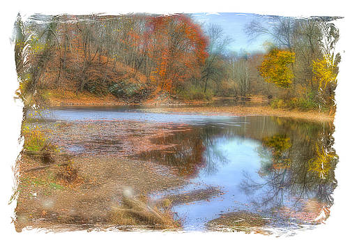 PA Country Roads - Neshaminy Creek Near Schofield Ford Covered Bridge - Autumn Bucks County by Michael Mazaika