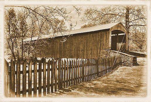 PA Country Roads - Red Run Covered Bridge Near Muddy Creek No. 4A Sepia - Lancaster County by Michael Mazaika