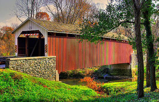 PA Country Roads - Siegrists Mill Covered Bridge Over Big Chiques Creek No. 2 - Lancaster County by Michael Mazaika